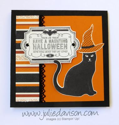 Stampin' Up! Labels to Love Halloween Cat ~ 2017 Holiday Catalog ~ Spooky Night Designer Paper + Cat Punch ~ www.juliedavison.com