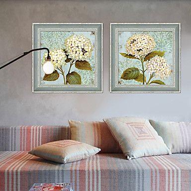 Floral/Botanical Framed Set/Framed Canvas Grey Frame Wall Art – USD $ 87.99