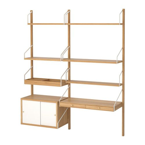 SVALNÄS Wall-mounted workspace combination, bamboo, white bamboo/white 59x13 3/4x69 1/4