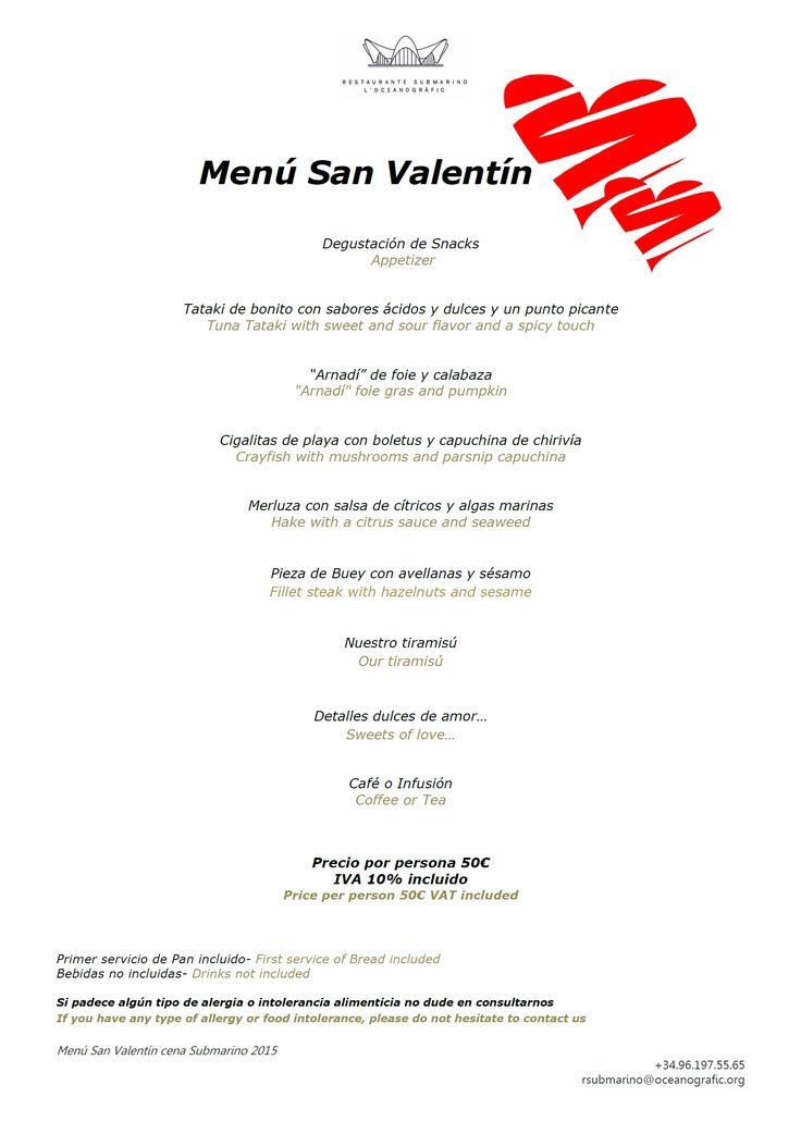 #Menu #SanValentin del #RestauranteSubmarino #Oceanografic #Ciudaddelasartesylasciencias #Valencia #diadelosenamorados #diadelamor #felizsanvalentin #amor #love #sorpresa #regalosanvalentin #veladaromantica