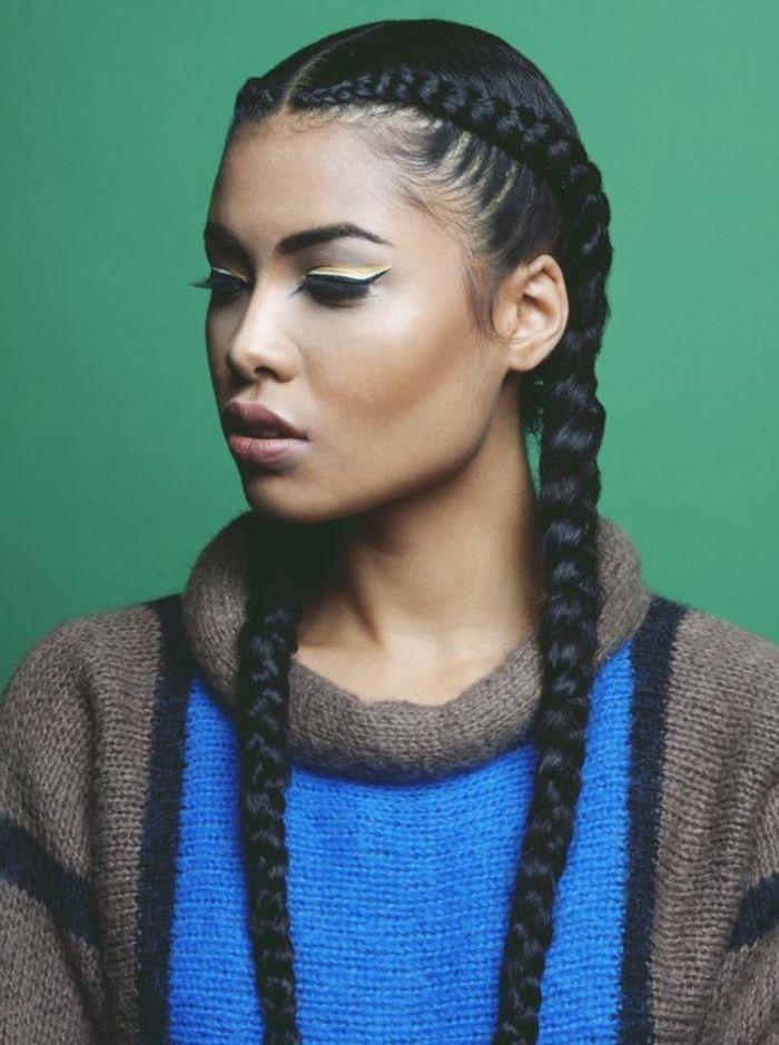 coiffure femme métisse, cheveux crépus, tresse épi de blé, type egyptienne, pull femme, maquillage fort