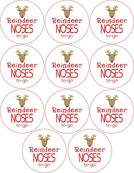 Free Reindeer Noses To Go Labels | Christmas | Pinterest