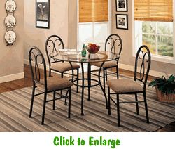 Odelia 5 Piece Dinette With Glass Table Top At Furniture Warehouse