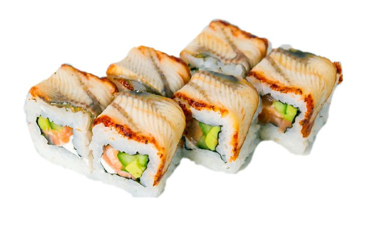 Дракон  Норвежский лосось, угорь, кунжут, авокадо, сыр «Филадельфия», огурец Вес: 200 г 370.00 руб.