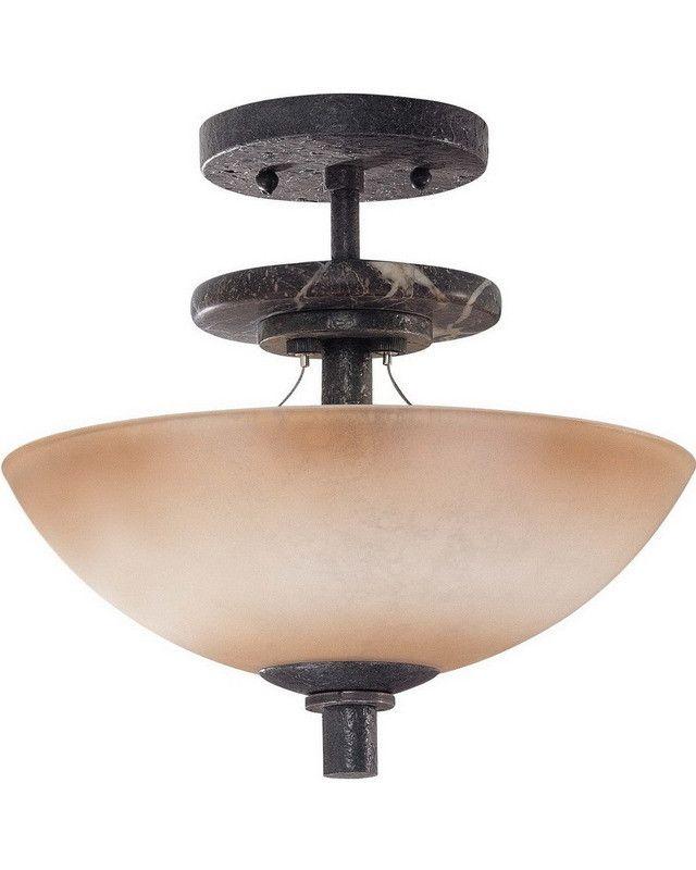 Nuvo Lighting 60 1445 Madison Collection Three Light Semi Flush Ceiling Fixture In Ledgestone Finish