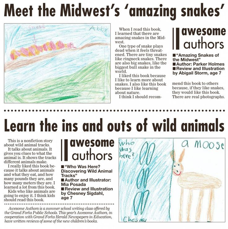 Week 2 Awesome Authors' book reviews and illustrations are from Abigail Storm, age 7 and Chesney Sigdahl, age 7. These appeared in the Grand Forks Herald on Sunday, September 6, 2015.