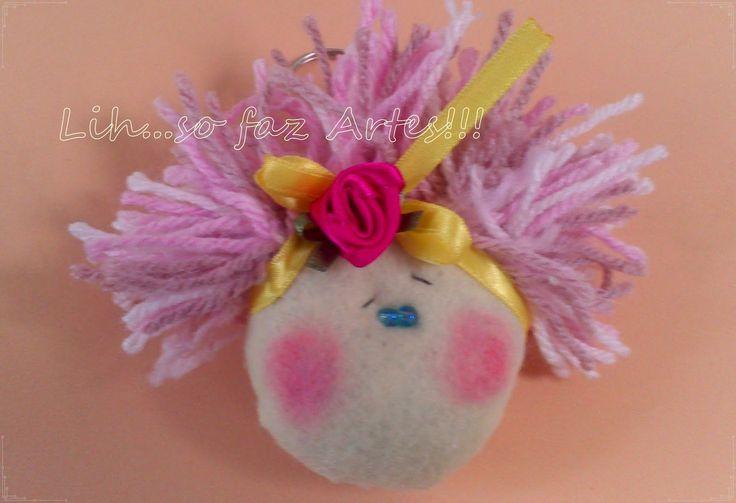 chaveiro boneca cabelo de lã