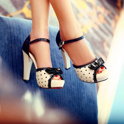 Lena sweet gentlewomen rhinestone bow thick heels shoes fashion high heeled sandals open toe women's shoes US size34 45-inSandals from Shoes on Aliexpress.com