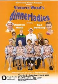 The Dinner Ladies. An unlikely scenario following the comic trials and tribulations of the office canteen staff. Victoria Woods, Celia Imrie et al.