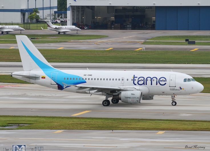 Tame A319-100 HC-CMO | Tame A319-112 Reg: HC-CMO taxing out to RWY 28R at Fort Lauderdale for its return flight to Quito, Ecuador.