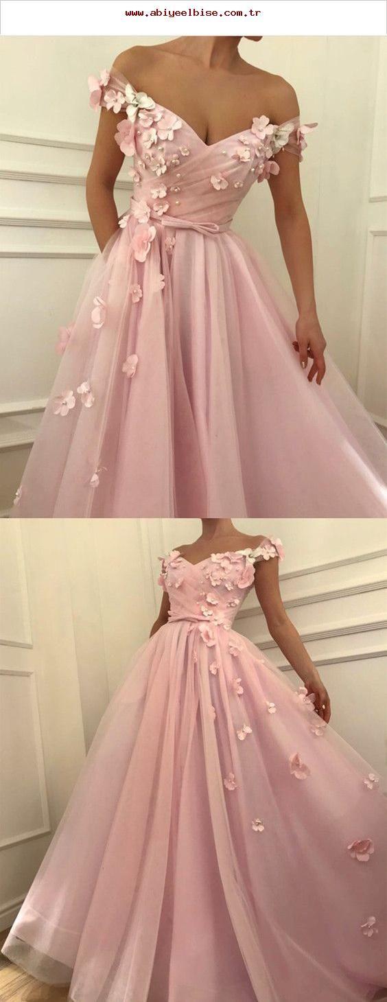 Hübsche rosa Tüll lange Ballkleider mit V-Ausschnitt aus der Schulter Abendkleider mit …