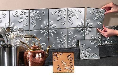 Old Fashioned Kitchen Backsplash Tin Tiles Raised Design