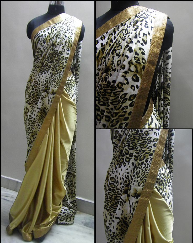 Leapord print pallu combined with gold plain satin pleates making a Class saree with a all over running gold border . A total attention seeker  Blouse - Black sequence fabric/Silk cotton as required.  For booking your saree please Email us with Saree name to sales@aaenadesign.com or call us on 9167625956