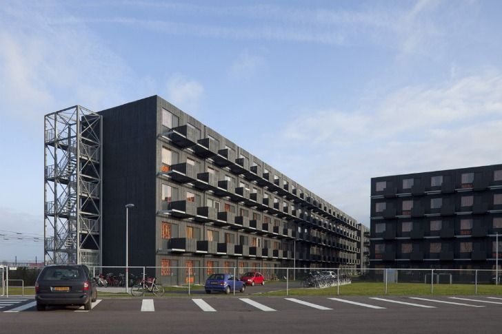 Modular student housing. Just stack more when you need to add more rooms.