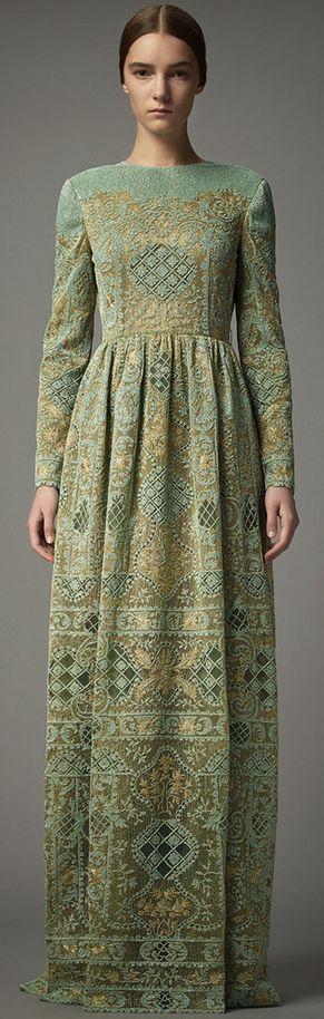 Russian-style dress by Valentino. Pre-Fall 2014. Its patterns remind of Russian folk embroidery.:
