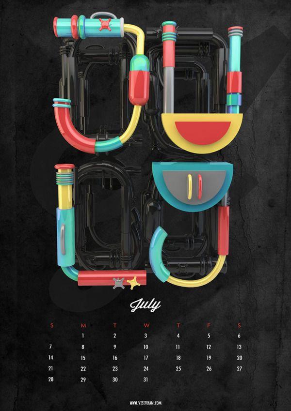 Type Calendar | July 2013 by Ryan Ho, via Behance