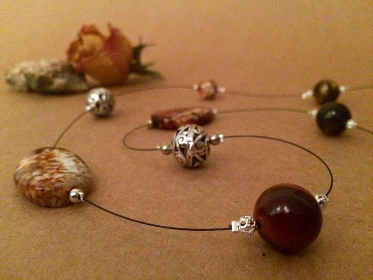 Tiger eyes, Agates and silver filigree beads necklace