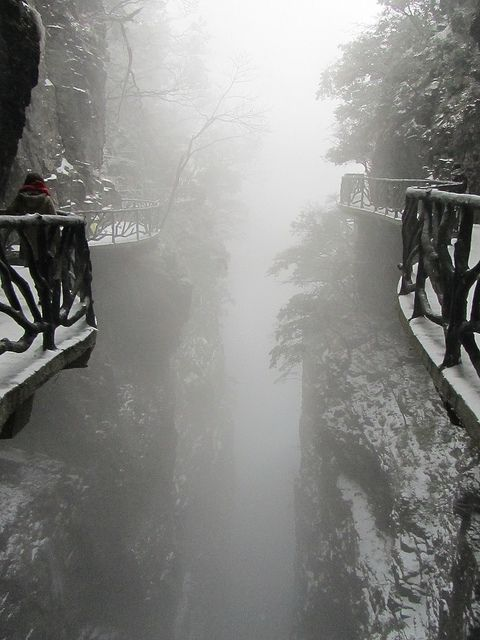 The cliff path that encircles Tianmen Mountain, China. Tianmen Mountain is located within Tianmen Mountain National Park, Zhangjiajie, in northwestern Hunan Province, China.