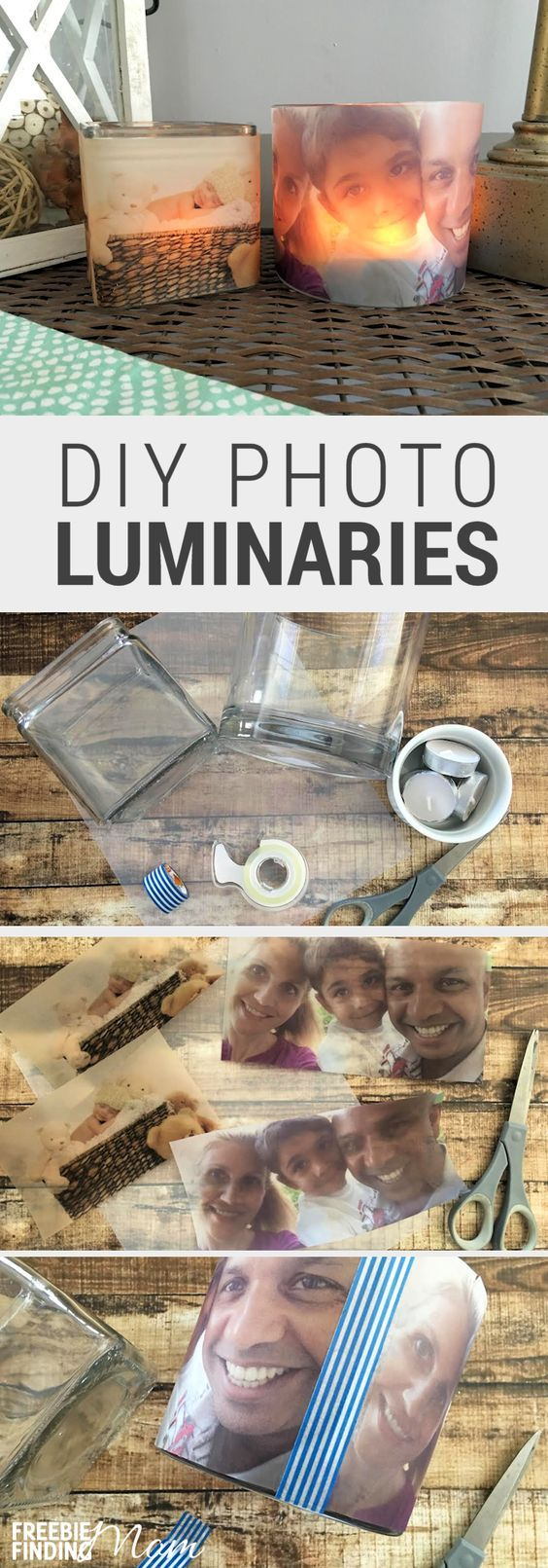 Need an easy, inexpensive and thoughtful DIY gift idea? These glowing photo luminaries are perfect for Mother's Day, Father's Day, Grandparent's Day, Valentine's Day, or just to show someone you care and are thinking of them. Homemade photo gifts are not only great gift ideas for moms, dads, grandparents, and friends, they can also serve as pretty DIY décor in your own home (i.e. centerpieces).
