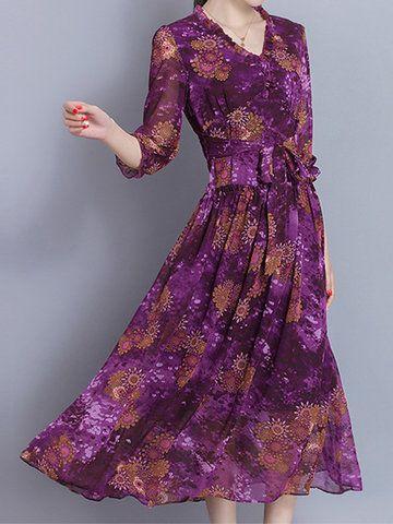 Elegant Floral Printed V-Neck Half Sleeve Dresses For Women