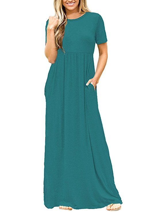 6edef2c08c37 DEARCASE Women Short Sleeve Loose Plain Maxi Dresses Casual Long Dresses  with Pockets at Amazon Women s Clothing store