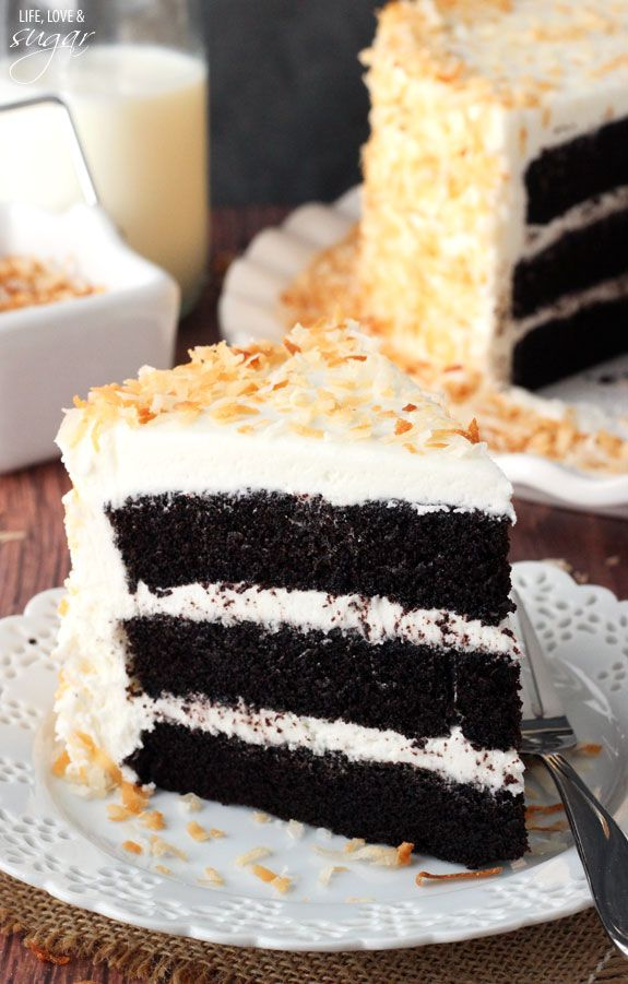Chocolate Coconut Cake by liveloveandsugar: Super moist and chocolatey cake paired with coconut icing and toasted coconut. #Cake #Chocolate #Coconut