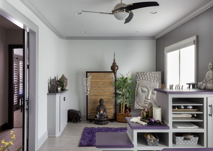 Contemporary Eclectic Custom Home - Yoga Room / Zen Room: This space is perfect for R&R thanks to its calming colors and peaceful ambiance. #dreamhome #homedesign #homedecor #yogaroom #zenroom #relaxing #contemporaryhome #eclectic #customhome #kansascity Visit our website: blrieke.com Visit our #Houzz page: houzz.com/pro/blrieke Photo by Tony Thompson (tthompsonphoto.com)