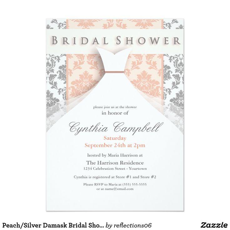 Peach/Silver Damask Bridal Shower Invitations