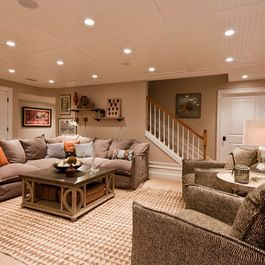 Basement Remodel- ceiling option -   recessed lighting and carpet ideas