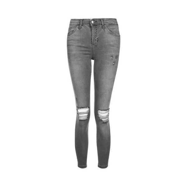 Topshop Petite Grey Rip Jamie Jeans ($52) ❤ liked on Polyvore featuring jeans, pants, grey, destroyed skinny jeans, high rise skinny jeans, high waisted jeans, stretch skinny jeans and gray skinny jeans