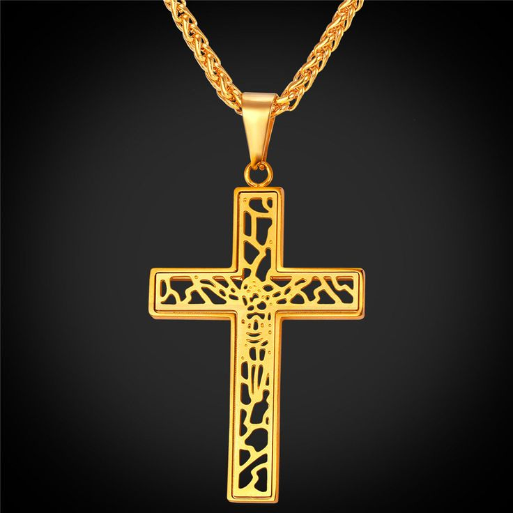 Hollow Cross Byzantine Necklaces & Pendants For Women Men 18K Gold Plated Jewelry