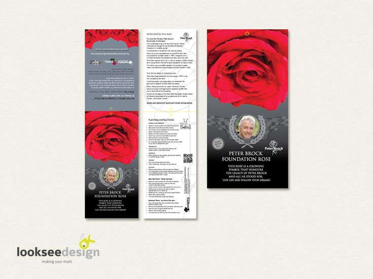 Knight's Roses Peter Brock Foundation Rose Label - Designed by Looksee Design