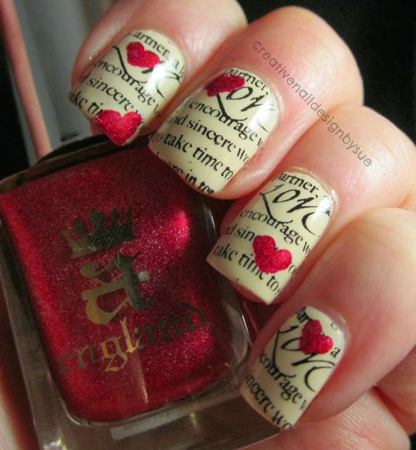 This is actually super easy to recreate. Just paint a base coat (a cream works best for this one) and soak your nail in rubbing alcohol. Press your nail to a newspaper and hold down for 30 secs. Immediately apply top coat. After it dries, do the additional nail art: the hearts and love script.