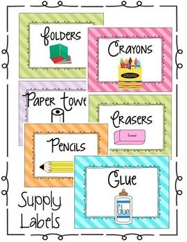 Use this item to label boxes and or supplies within the classroom.  I also use these labels during meet the teacher when students bring their school supplies.  I place the labels on the boxes so students know where to put certain supplies.  Enjoy the freebie!