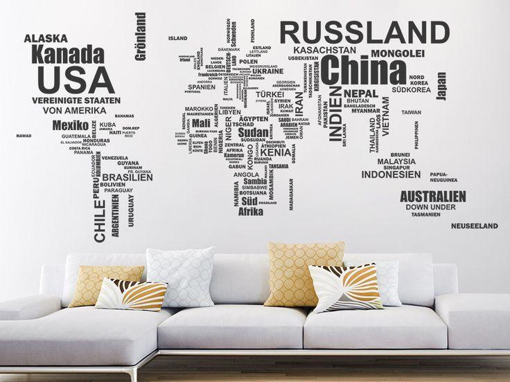 Stilisierte Weltkarte mit Ländernamen - die #Wandtattoo #Weltkarte Länder ist einzigartig in ihrer Art