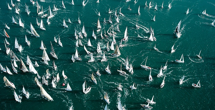 Starting line, Barcolana. Wouldn't want to be Race Committee on this one.  Photo: Franco Pace
