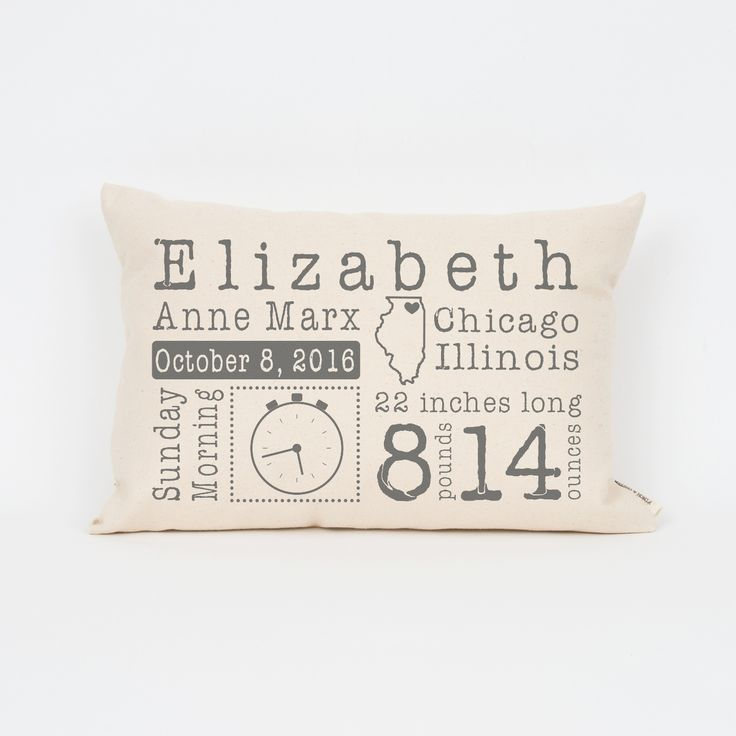 Birth Announcement Vintage Pillow from Finch and Cotter