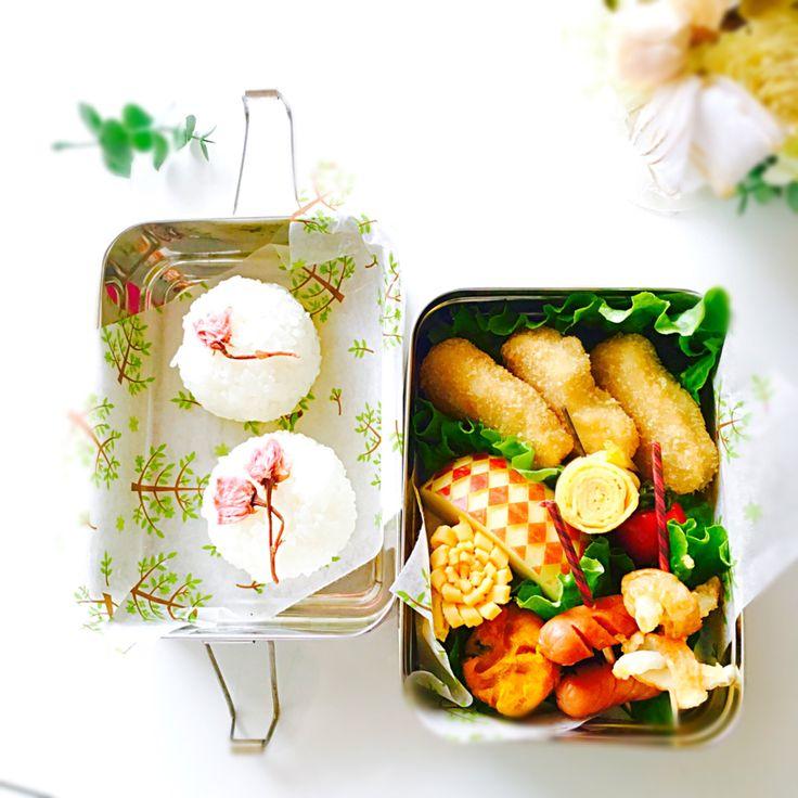 usako's dish photo ムスメ弁当 | http://snapdish.co #SnapDish #お弁当 #お昼ご飯 #おむすびの日(1月17日) #お花見 #おにぎりの日(6月18日)