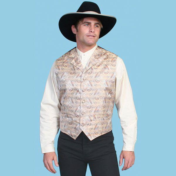 tan western vest for wedding | Scully Rangewear Men's Tan Paisley Western Vest | eBay