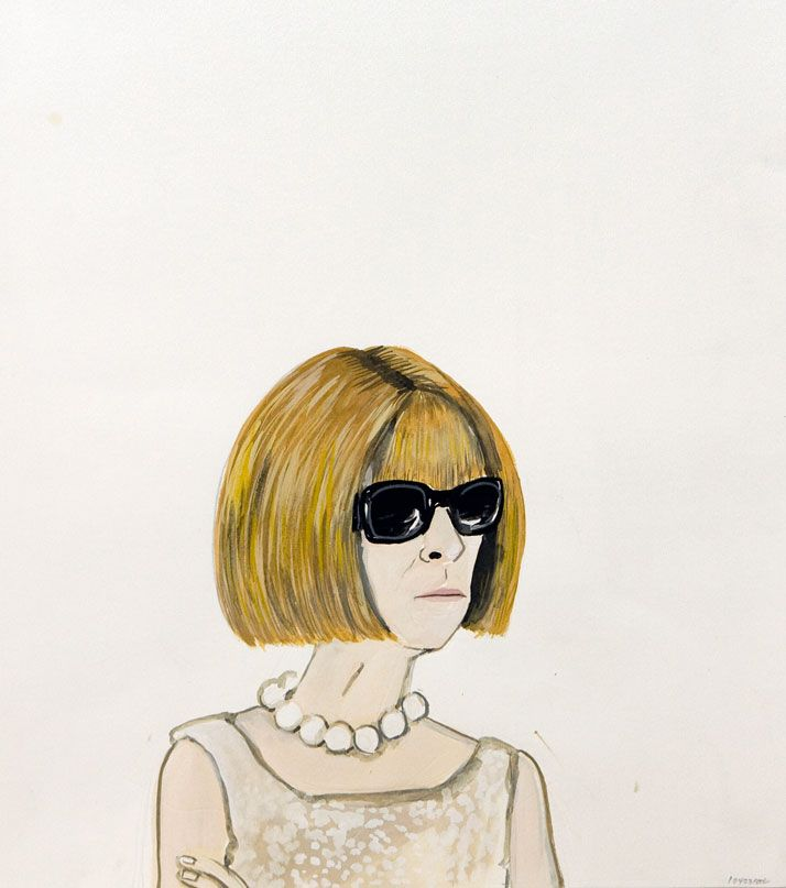 Konstantin Kakanias, 43 (ANNA WINTOUR WEARING GLASSES), 2012, gouache on paper, 56X33cm. Courtesy of Rebecca Camhi Gallery (Athens, Greece). Photo by Antonakis Christodoulou. / http://www.yatzer.com/art-athina-2013