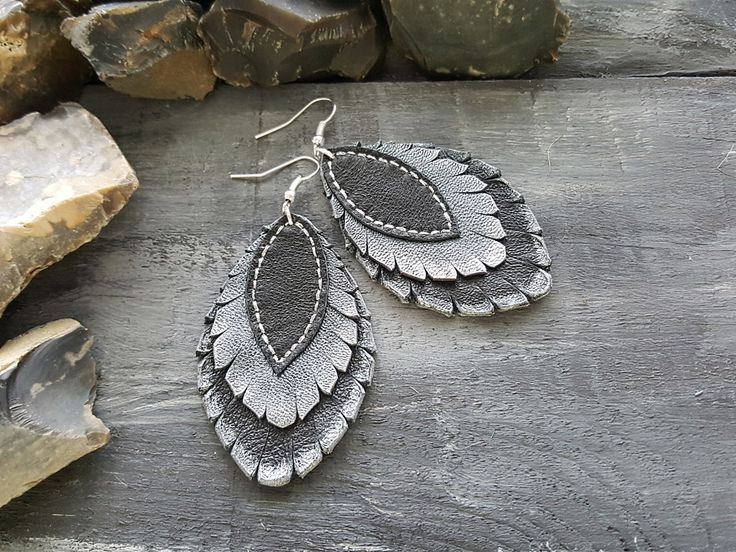 Layered Leather Earrings. Large Statement Earrings. Boho Leaf Earrings. Leather feather earrings. Dangle Bohemian Earrings Boho chic jewelry