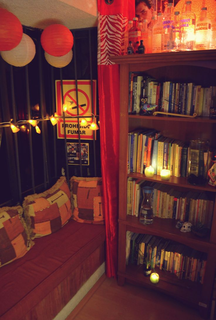 """""""The Creative Cave Pt. 1""""  This is my favorite part of the room. I know that there is a sign that says """"Don´t Smoke"""", but is just an adornment because I love to do it in the window.  Is my favorite place to read, think and philozophise about life.  #Window #Books #Room #EtnoHipster #Mexican"""