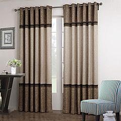 (Top grommet um painel) neoclássico quarto laço floral escurecimento cortina marrom e bege sólida