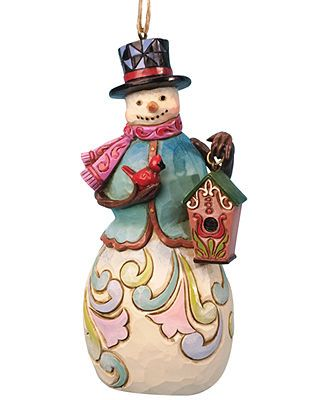 Jim Shore Christmas Ornament, Snowman with Birdhouse
