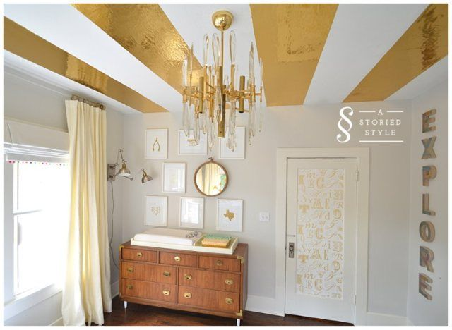 DIY Gold Contact Paper Ceiling Stripes.