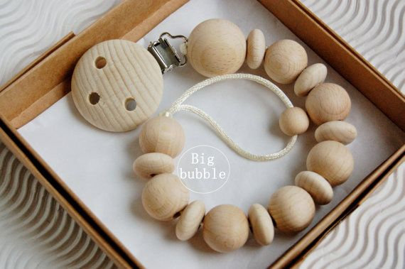 Chunky wooden dummy clip dummy chain pacifier by LovelyCraftsHome