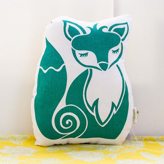 Original Screen Printed FOX Cushion / Softie in by CuriousBazaar, $35.00