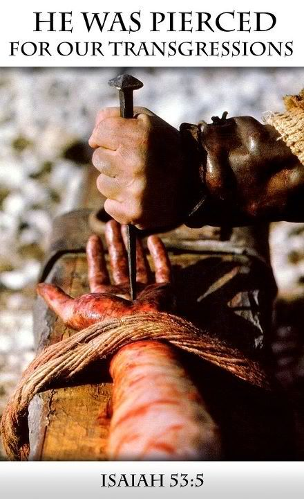 """Isaiah 53:5. Thank You Jesus....No one can ever say, """"Jesus dosen't know hoe it feels, Jesus never....."""" Jesus endured all things...was spit on...and He is God! He is coming back with vengence."""
