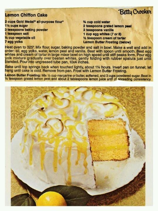 Fashioned Lemon Cookie Recipe: Old Fashioned Lemon Chiffon Cake.