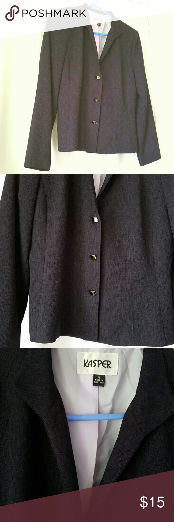 GORGEOUS NAVY BLUE BLAZER Gorgeous dark navy blue/or a dark purple blazer By Kasper size 8. It has a slight oriental look to it, with the dark silver buttons. 100% polyester and is lined also. No flaws in perfect condition. Sleeves can be rolled up to revel the light lavender colored lining. Check out the second photo to see the cool textured fabric and buttons. Make an offer! Kasper Jackets & Coats Blazers